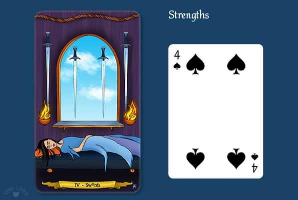 Comparing 4 of Swords vs 4 of Spades