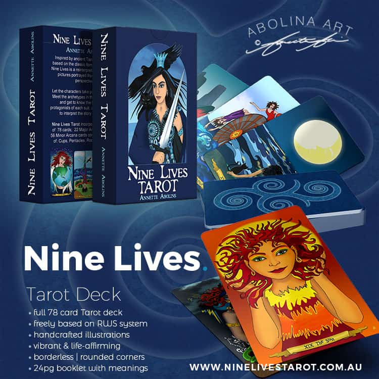 Introduction to Nine Lives Tarot - 78 card deck with handcrafted illustration by Annette Abolins